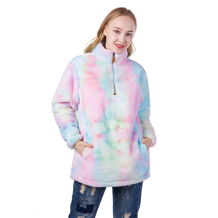 Fashion Tie Dye Faux Fur Quarter Zipper Fleece Pullover MXDSS619