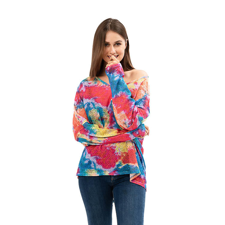 Max Apparel Tie Dye V-Neck Long Sleeves Knit Tops MXDSS926