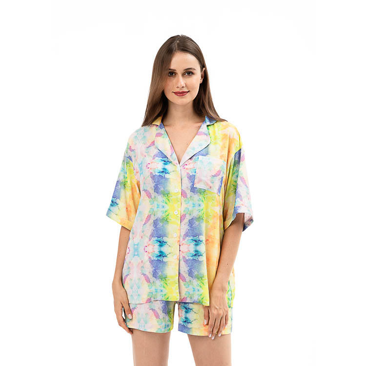 The Lazy Poet Tie Dye Short Sleeves Short Pajama Set Sleepwear MXDSS922