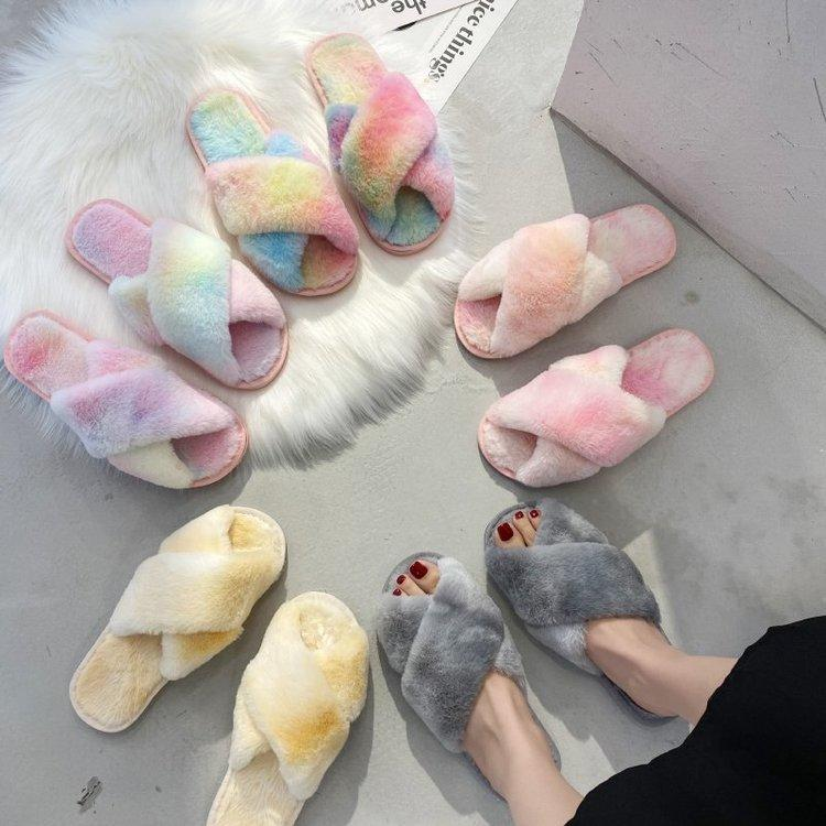 Women Winter Slipper Cross Band Soft Plush Fleece Tie Dye Ladies Slippers