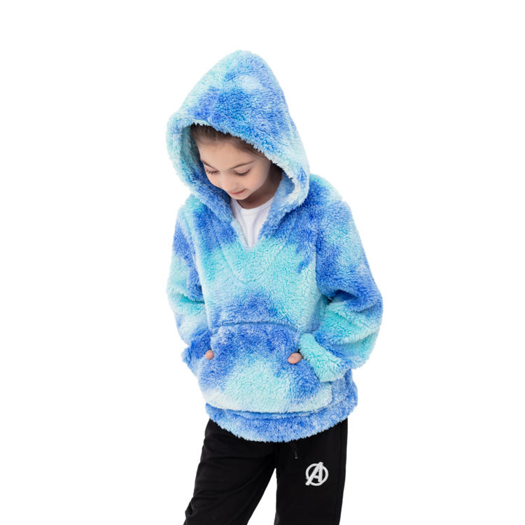 Hot Seller Rainbow Tie Dye Sherpa Pullover For Kids MXDSS1007