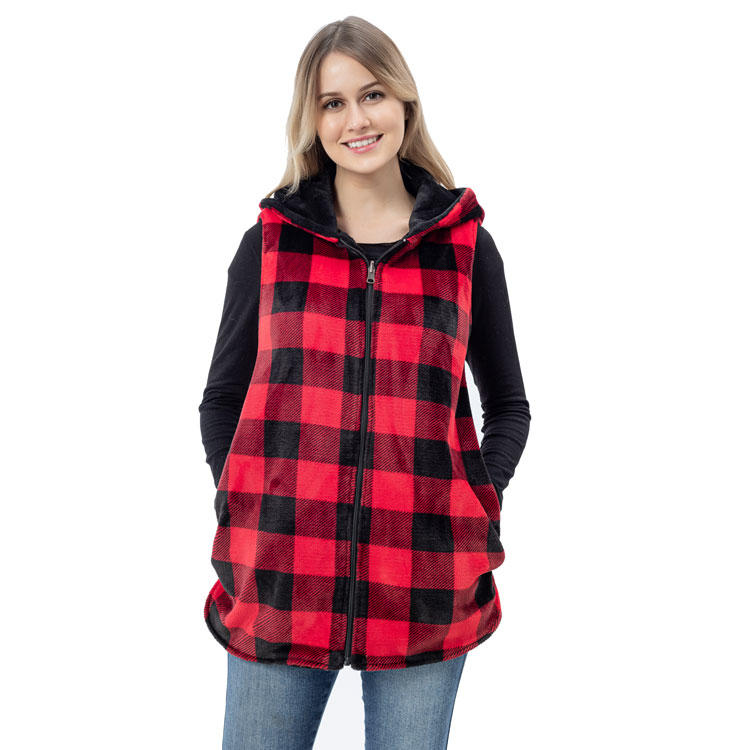 Ladies New Arrival Reversible Sleeveless So Cozy And Warm Buffalo Plaid Vest