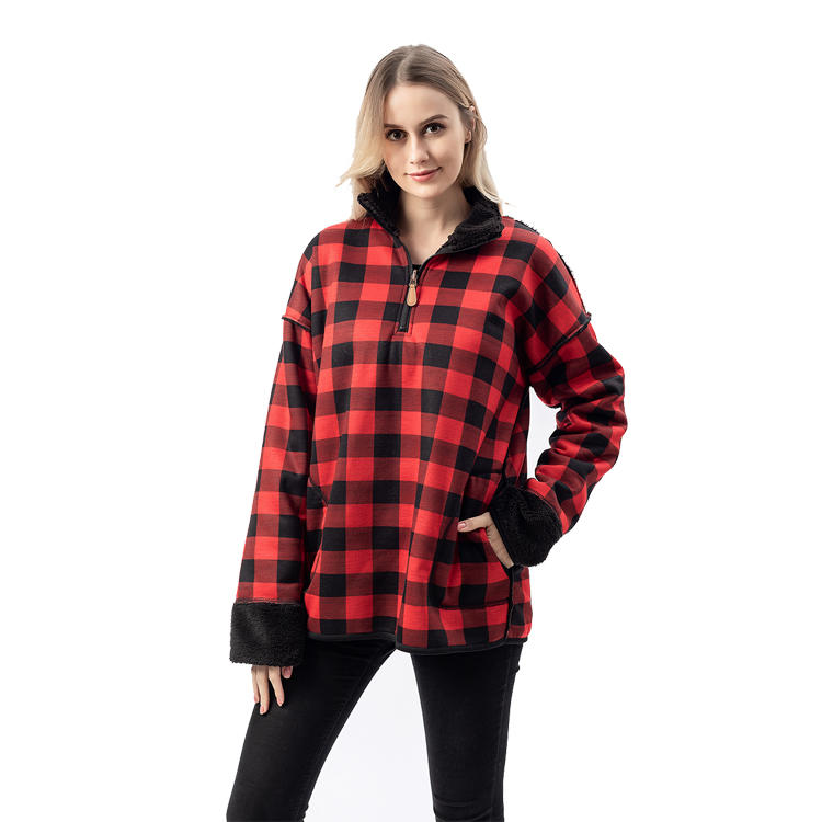 Yiwu Wholesale Women Reversible Buffalo Plaid Sherpa Fleece Pullover MXDSS754