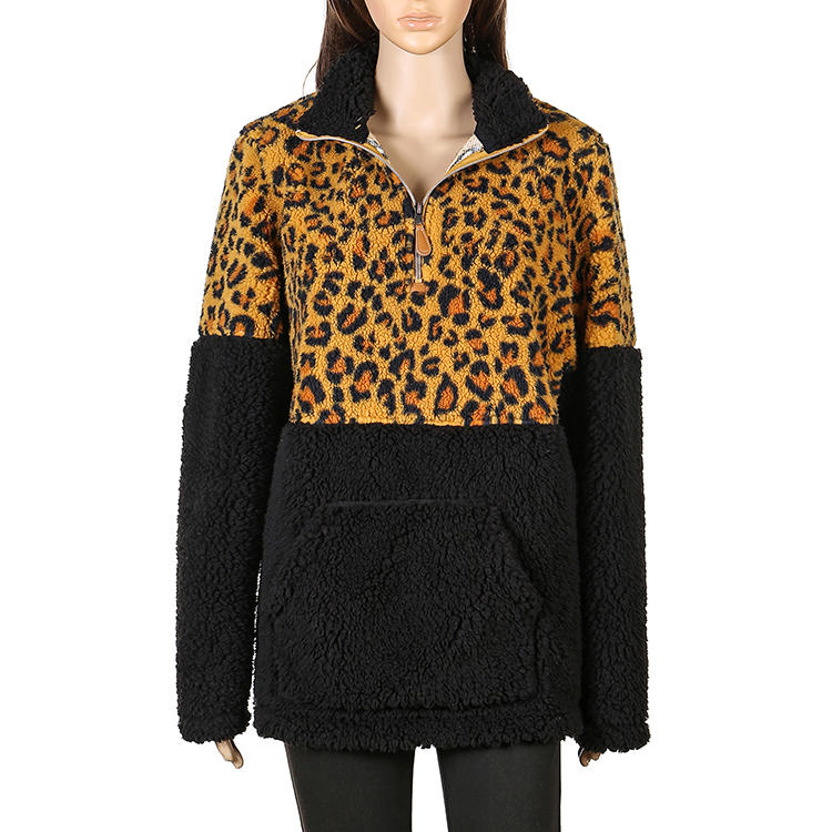 Hot Sales Leopard/Black Fleece Women Pullover MXDSS564