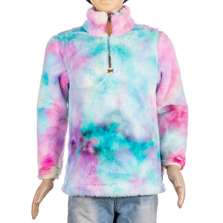 Yiwu Wholesale Faux Fur Tie Dyed 1/4 Zipper Pullover  MXDSS610