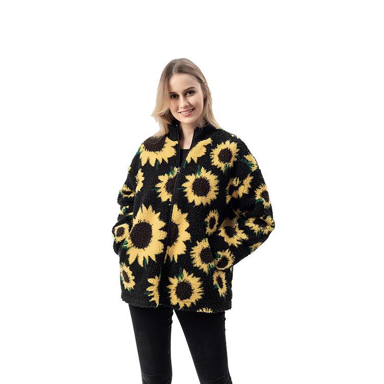 New Arrival Women Fashion Sunflower Lambs Wool Jacket MXDSS744