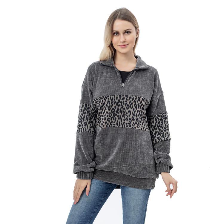 Yiwu Wholesale Corduroy Quarter Zipper Women Pullover MXDSS775