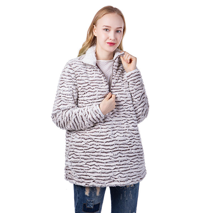 Yiwu Factory Wholesale PV Fleece With Quarter Zipper Women Pullover MXDSS625