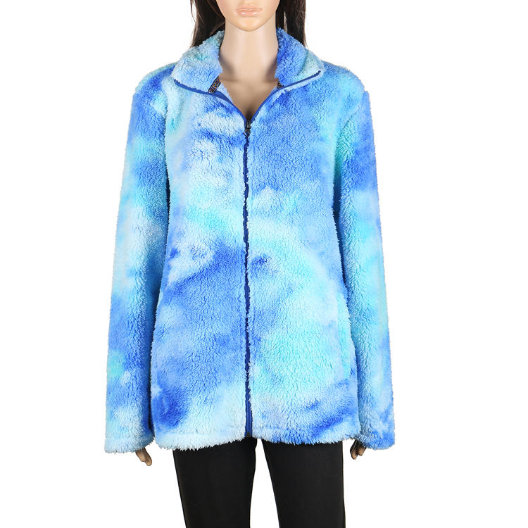 Hot Sales Warm Tie Dye Faux Fur Fleece Women Jacket MXDSS648