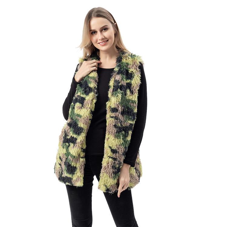 New Arrival Faux Fur Camouflage Shaggy Women Vest MXDSS752