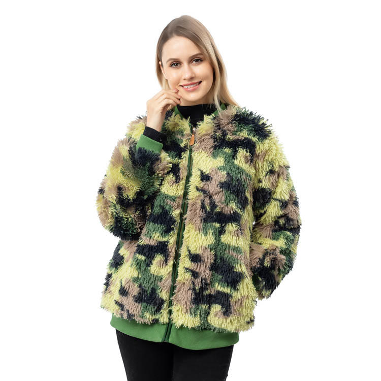Yiwu Factory New Arrival Cozy Faux Fur Camouflage Women Jacket MXDSS788