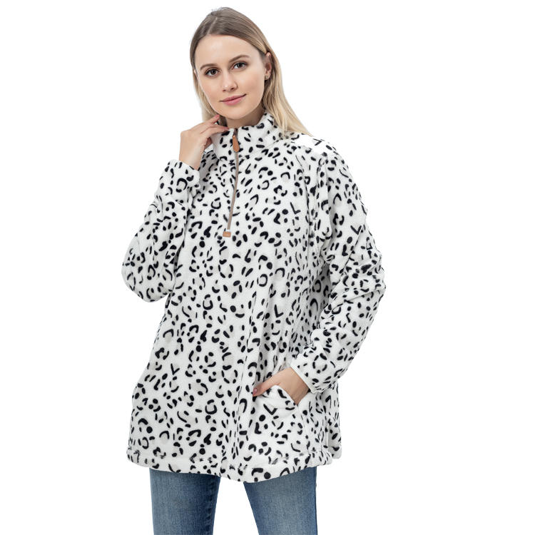 Hot Sales Women Casual Leopard Coral Fleece Pullover MXDSS759