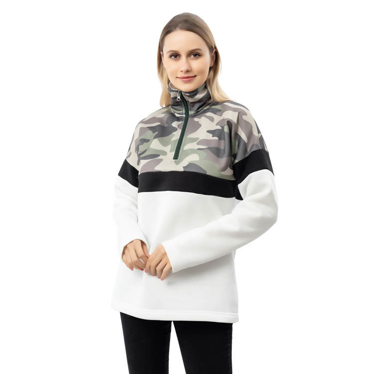MXDSS796 New Designs Fall Color Block Camo 1/4 Zipper Pullover