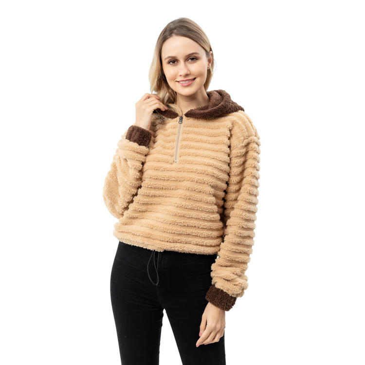Yiwu Wholesale Fashion Quarter Zipper Stripe Sherpa Fleece Pullover With Hoodie MXDSS794