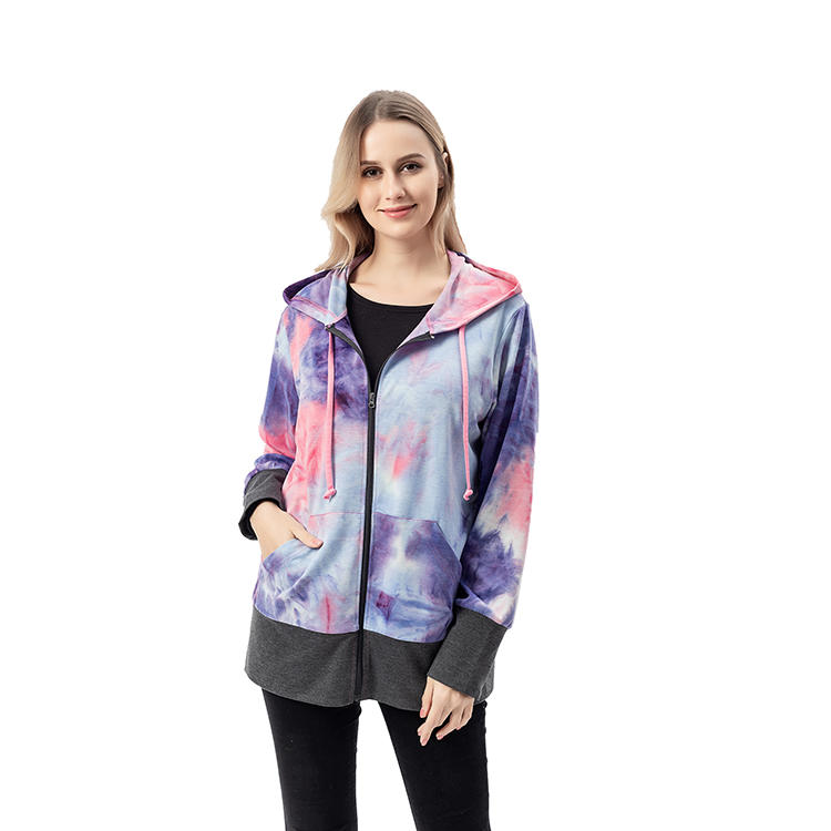 High Quality Tie Dye Women Jacket With Hoodie MXDSS742