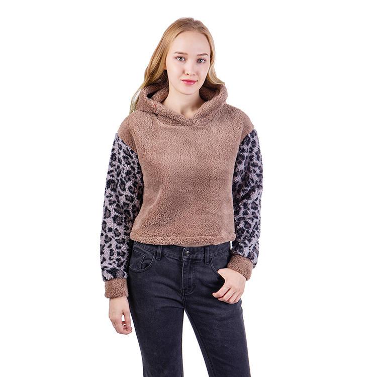 Yiwu Wholesale Fashion Women Sherpa Fleece Hoodie MXDSS576