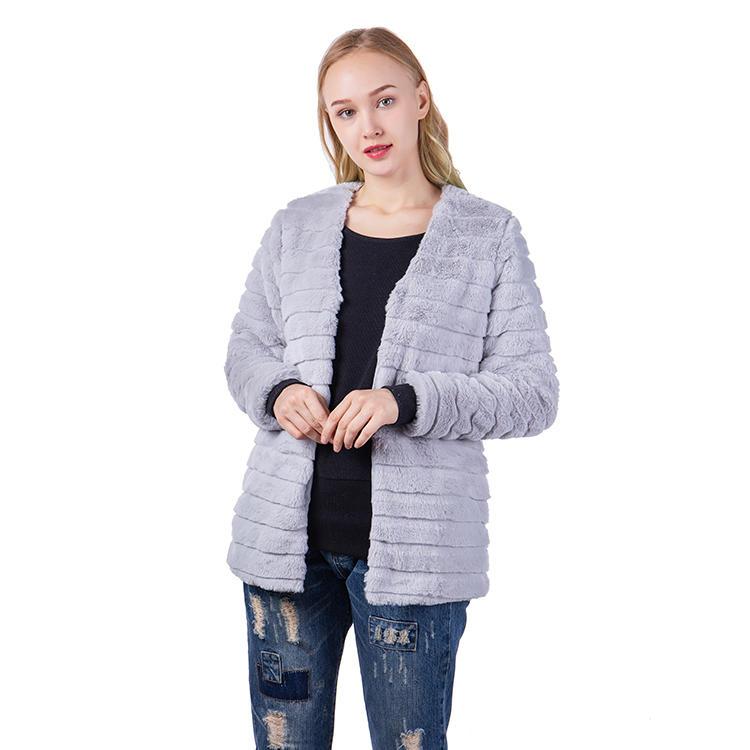 Yiwu Factory Hot Selling Stripe Faux Fur Women Jacket MXDSS548