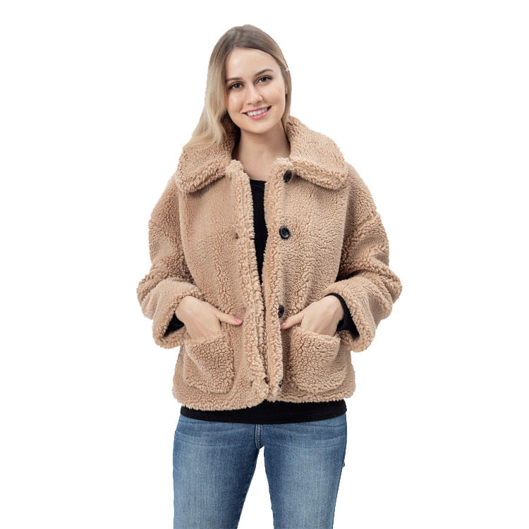 Winter New Arrival Women Button Sherpa Fleece Jacket MXDSS760