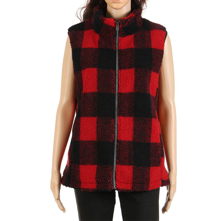 Yiwu Wholesale Women Buffalo Plaid Lambs Wool Vest MXDSS387