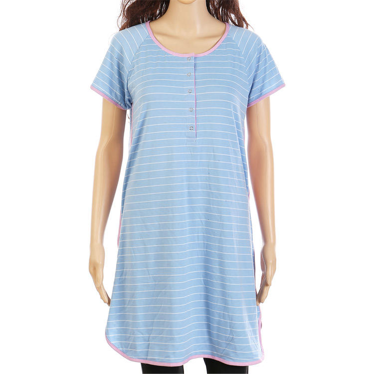 New Arrival Casual Women Simple Stripe Dress With Snaps MXDSS306