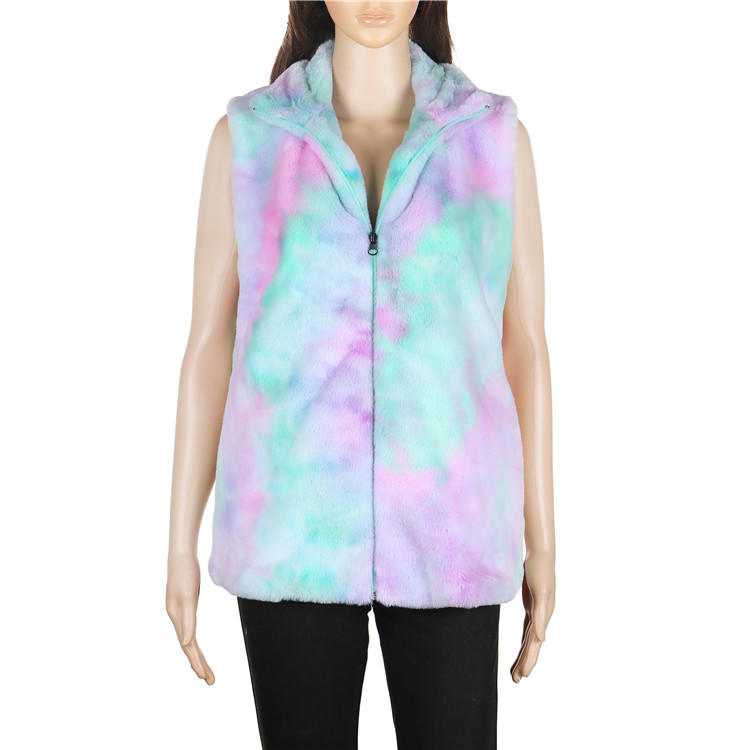 Yiwu Factory Hot Selling Women Tie Dye Faux Fur Vest MXDSS643