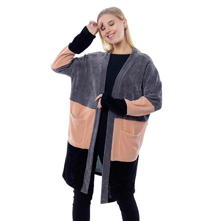 Hot Selling Women Color Block Cardigan With Patch Pockets MXDSS806