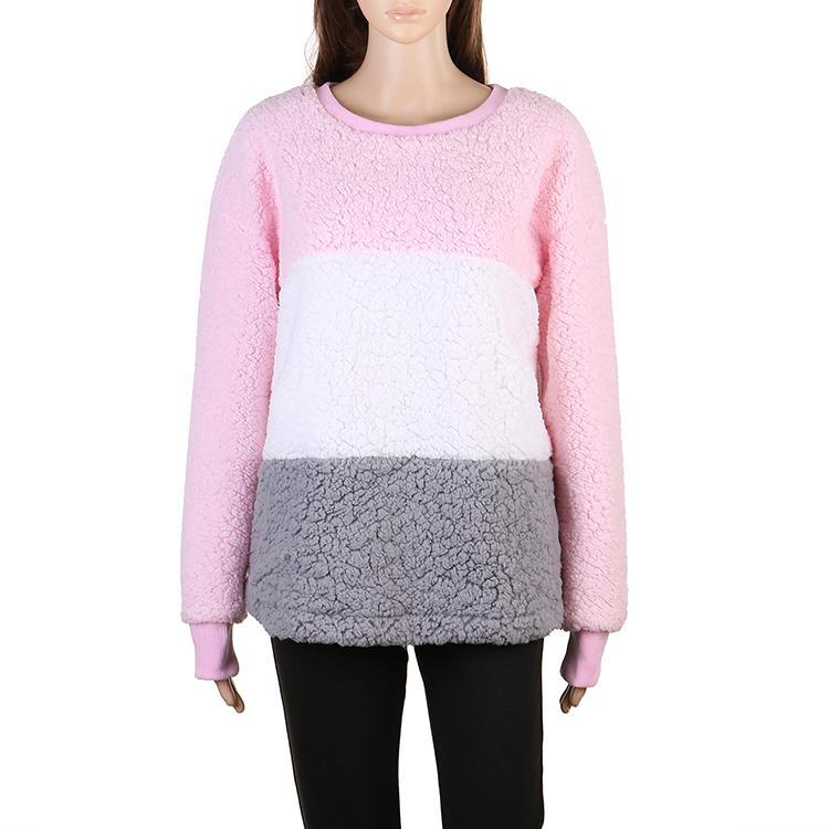 Hot Selling Women Sherpa Fleece Color Block Pullover MXDSS520
