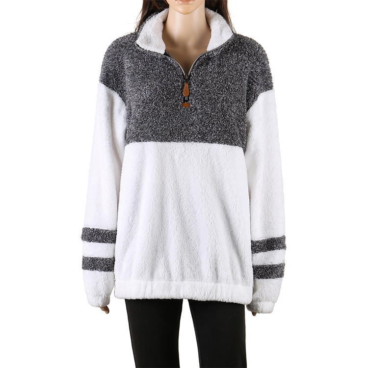 Hot Selling Women's 1/4 Zipper Sherpa Fleece Pullover MXDSS512