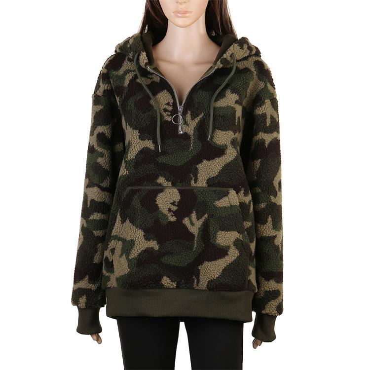 Hot Selling Camouflage Women Lamb Wool Pullover Hoodie MXDSS584