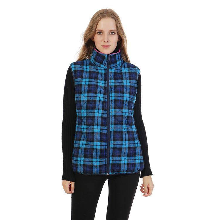Hot selling Reversible Faux Fur Quilted Women Plaid Vest MXDSS342