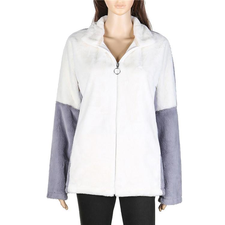 Hot Selling Color Block Women Faux Rabbit Fur Jacket MXDSS574
