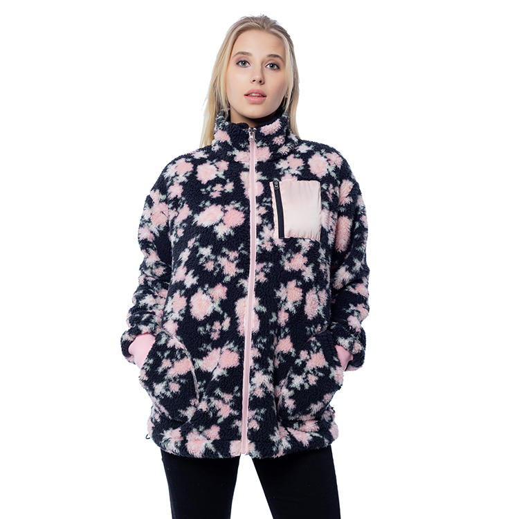 New Arrival Printed Women Sherpa Fleece Jacket MXDSS818