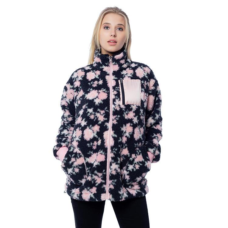 New Arrival Printed Women Sherpa Fleece Jacket MXDSS818