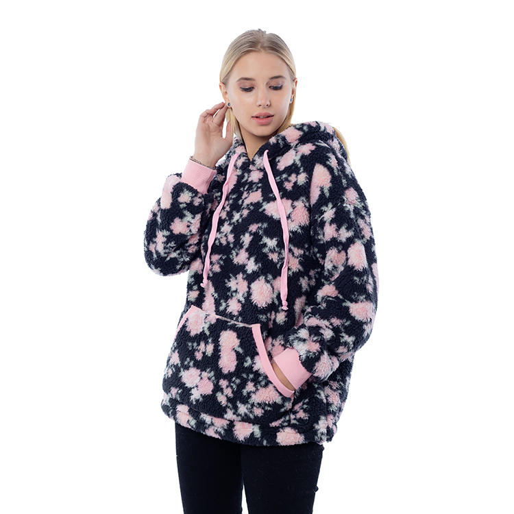 New Arrival Printed Women Sherpa Fleece Hoodie MXDSS808