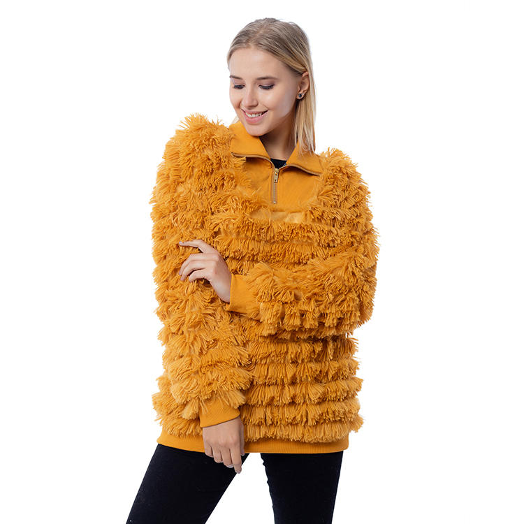2020 Wholesale Quarter Zipper Women Shaggy Fleece Pullover MXDSS807