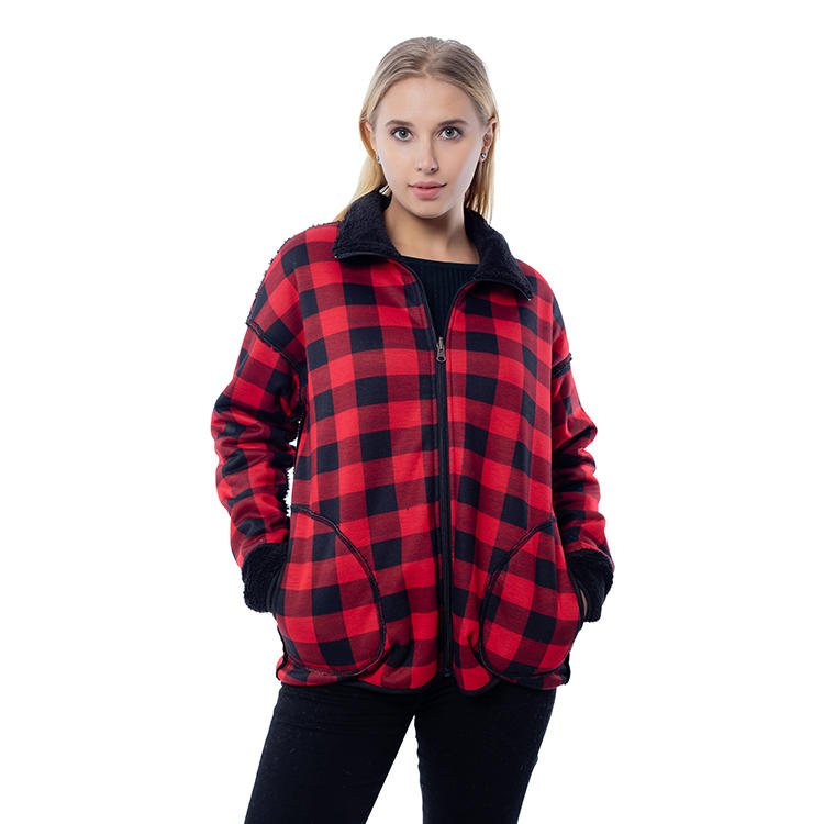 New Arrival Plaid Reversible Women Sherpa Fleece Jacket MXDSS800