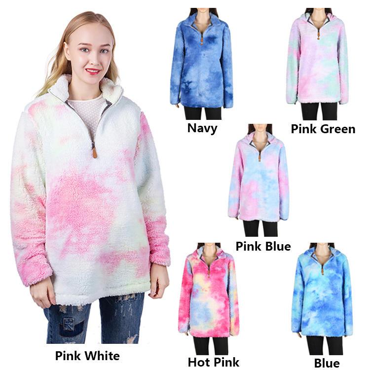 Hot Selling Tie Dye Sherpa Fleece Pullover MXDSS645
