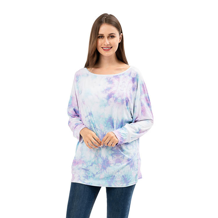 New Arrival Ladie's Long Sleeve Tie Dye  Round Neck Tops MXDSS923