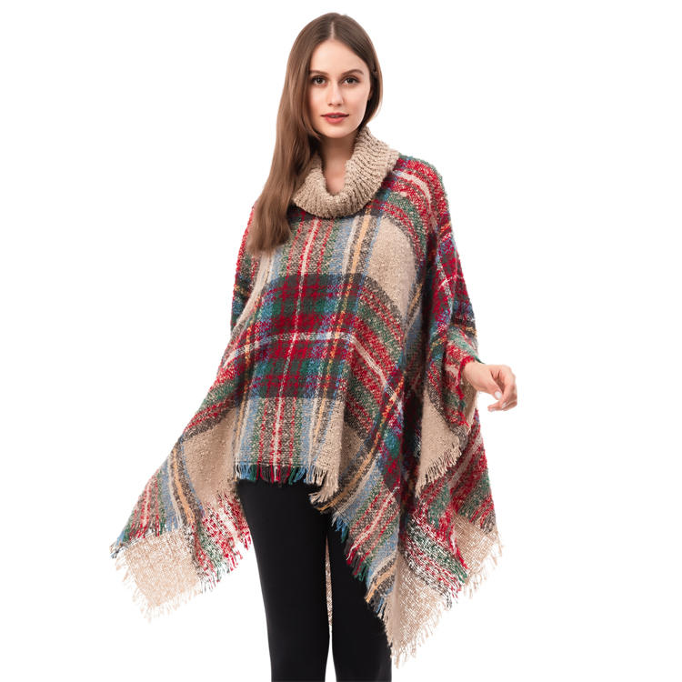 Hot Selling Ladie's Buffalo Plaid Poncho MXDSS945