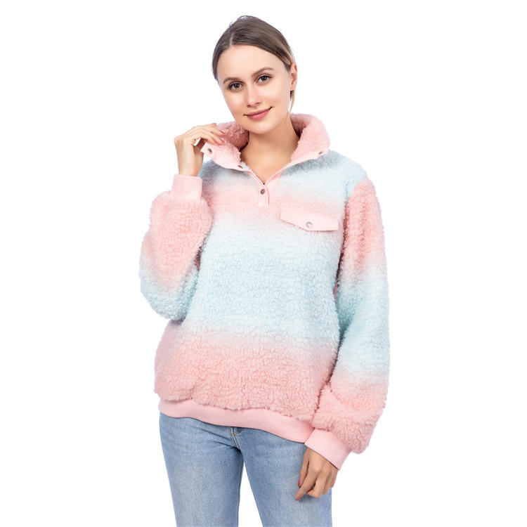 Wholesale Personalized Pink Tie Dye Sherpa Fleece Pullover MXDSS848