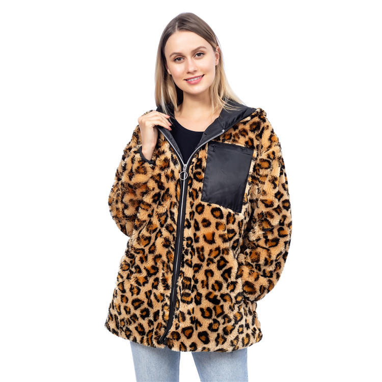 New Design Faux Fur Leopard Jacket With Hoodie MXDSS834