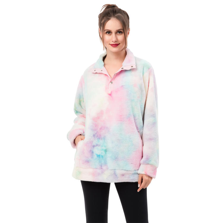New Arrival Ladie's Faux Fur Fleece Tie Dye Pullover MXDSS952