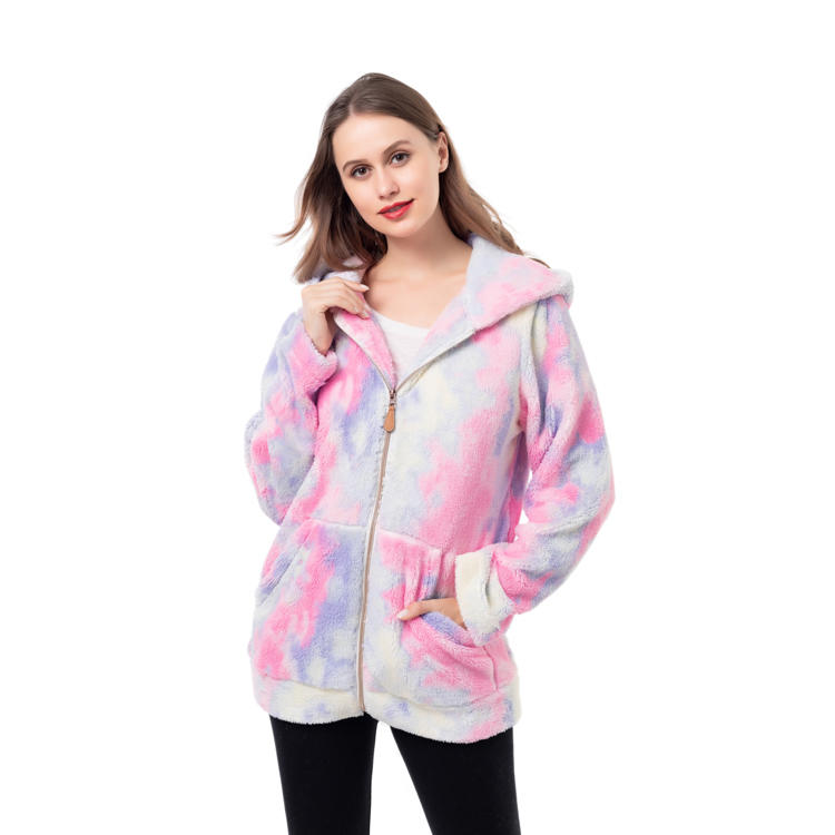 Hot Selling Faux Fur Fleece Tie Dye Jacket MXDSS986