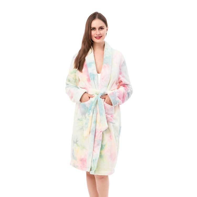 Hot Selling Tie Dye Fleece Super Cozy Sleepwear Ladie's  Robe MXDSS951
