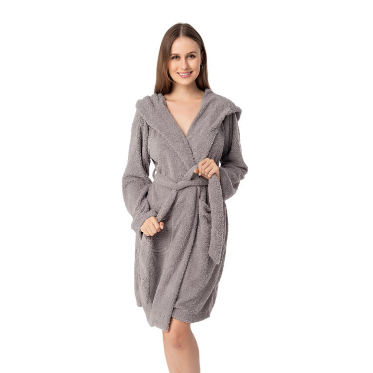 High Quality Fleece Women's Sleepwear Plush Wrap Robe MXDSS971