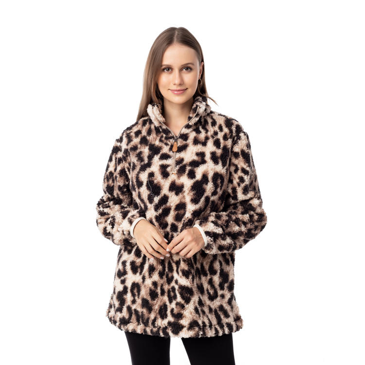 Hot Selling 1/4 Zipper Leopard Sherpa Fleece Pullover MXDSS957