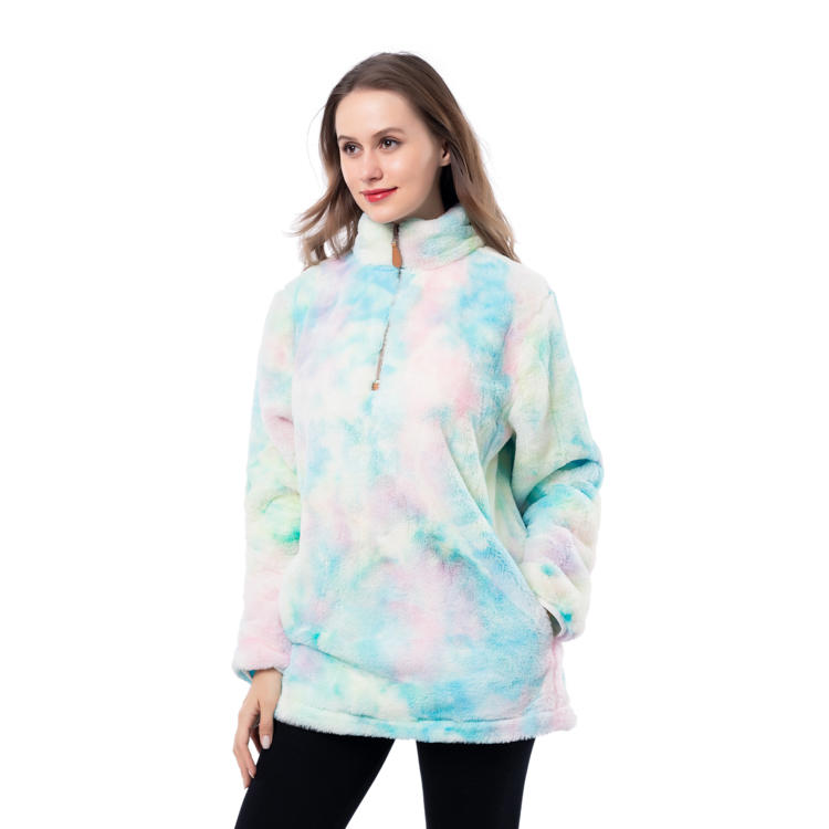 Super Cozy Faux Fur Fleece Tie Dye Pullover With Quarter Zipper MXDSS959