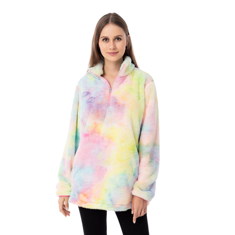New Style For 2020 Faux Fur Tie Dye Fleece Pullover MXDSS959