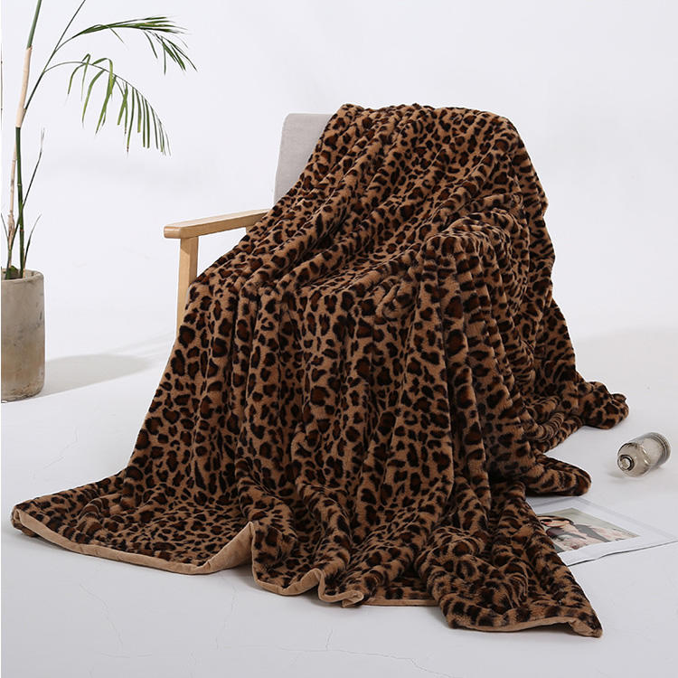 Hot Selling Leopard Faux Fur Fleece Cozy Blankets MXDFB001