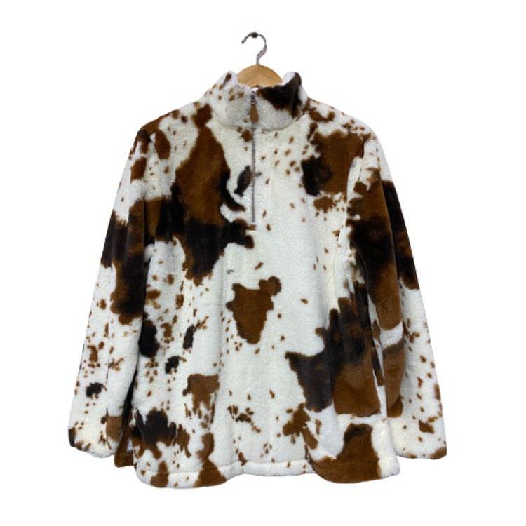 RTS 2020 Women's Crazy Cow Print Faux Fur Fleece Pullover MXDSS108